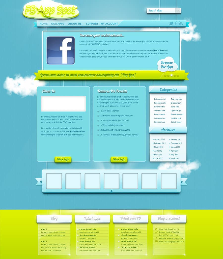Kilpailutyö #                                        15                                      kilpailussa                                         Wordpress Theme Design for FB App Spot