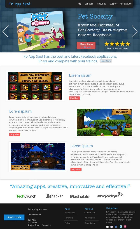 Kilpailutyö #                                        10                                      kilpailussa                                         Wordpress Theme Design for FB App Spot