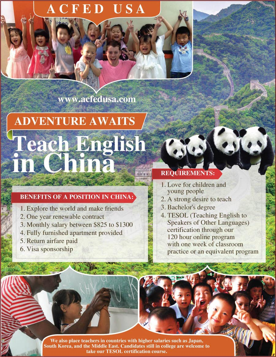 "#33 for Design a Flyer: ""Adventure Awaits - Teach English in China"" by amcgabeykoon"