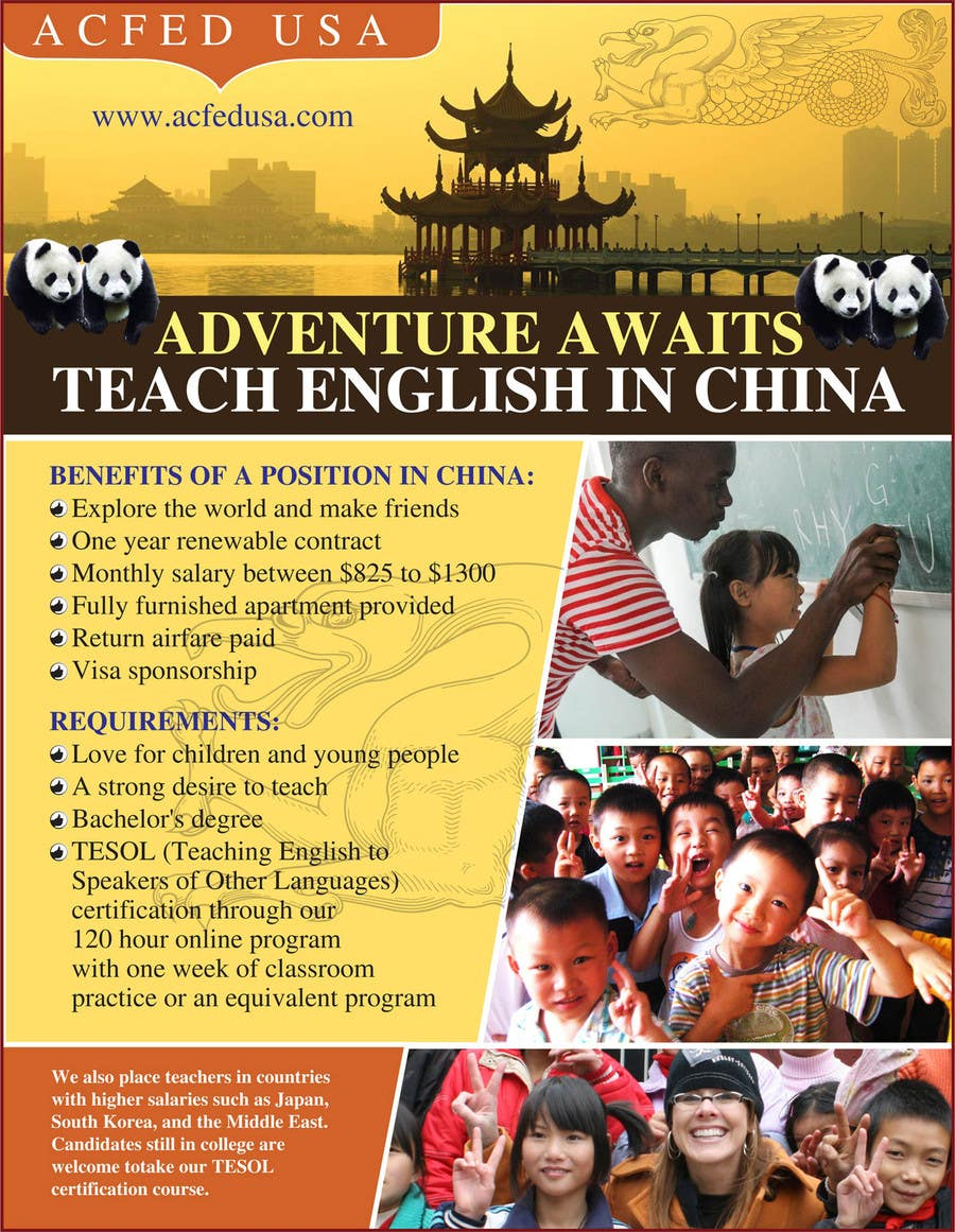 "#55 for Design a Flyer: ""Adventure Awaits - Teach English in China"" by amcgabeykoon"