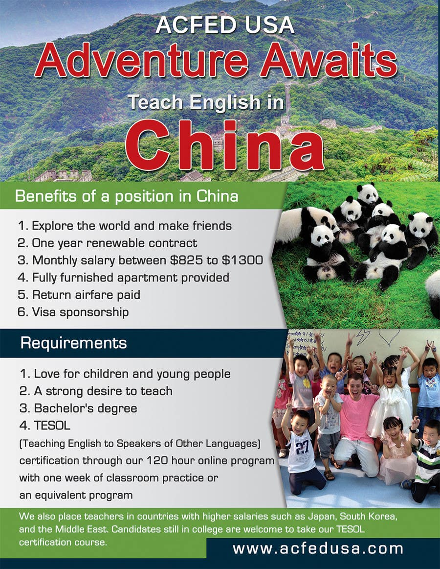 "#41 for Design a Flyer: ""Adventure Awaits - Teach English in China"" by IllusionG"