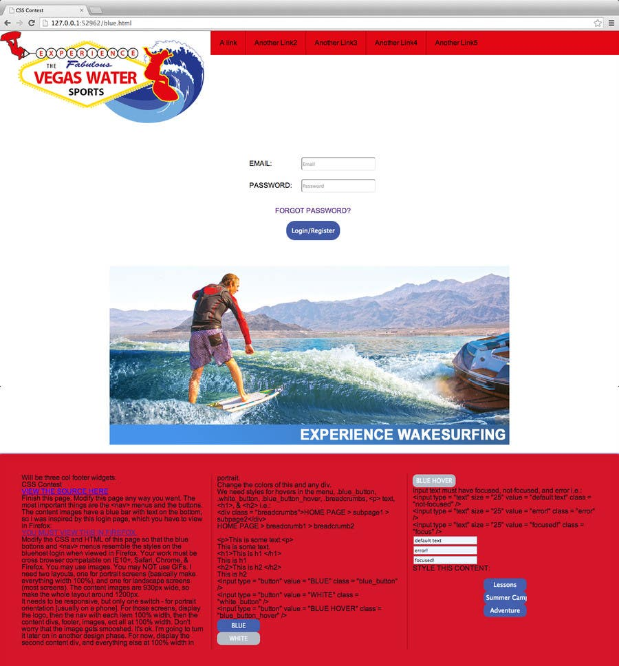 Contest Entry #1 for CSS Contest - Design 1 page template