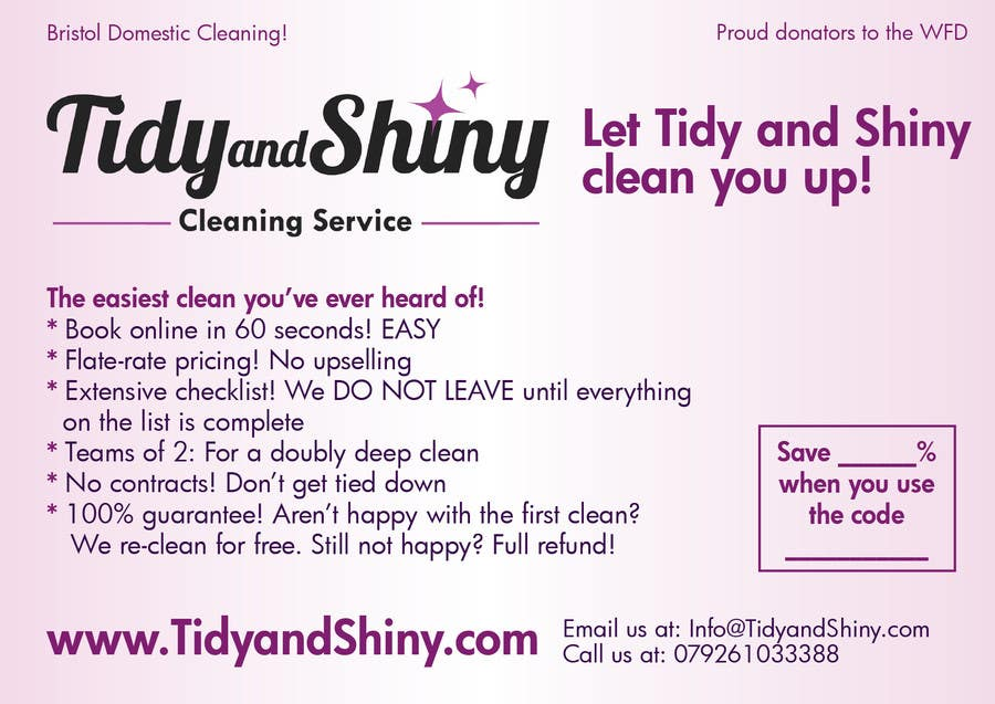 Konkurrenceindlæg #15 for Design a Flyer for Tidy and Shiny (cleaning company)