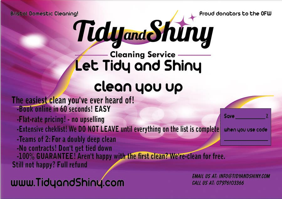 Konkurrenceindlæg #4 for Design a Flyer for Tidy and Shiny (cleaning company)
