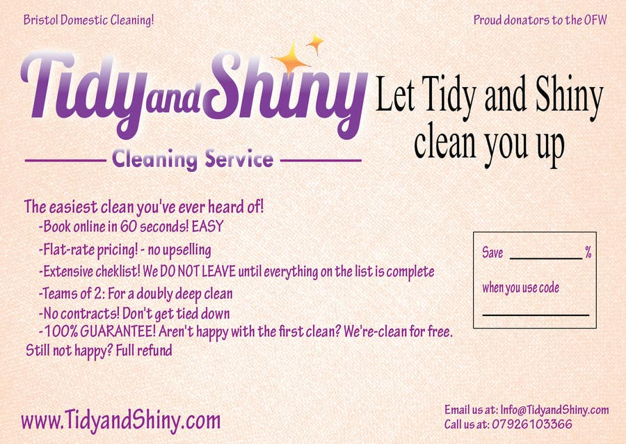 Konkurrenceindlæg #6 for Design a Flyer for Tidy and Shiny (cleaning company)