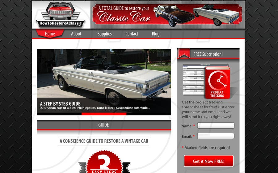design a website mockup for classic car restoration site layout provided just need your. Black Bedroom Furniture Sets. Home Design Ideas