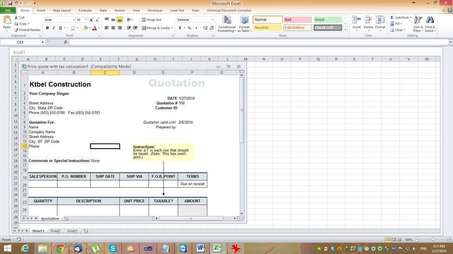 #1 for Do some Excel Work for KTBEL Construction by cobusduvenhage