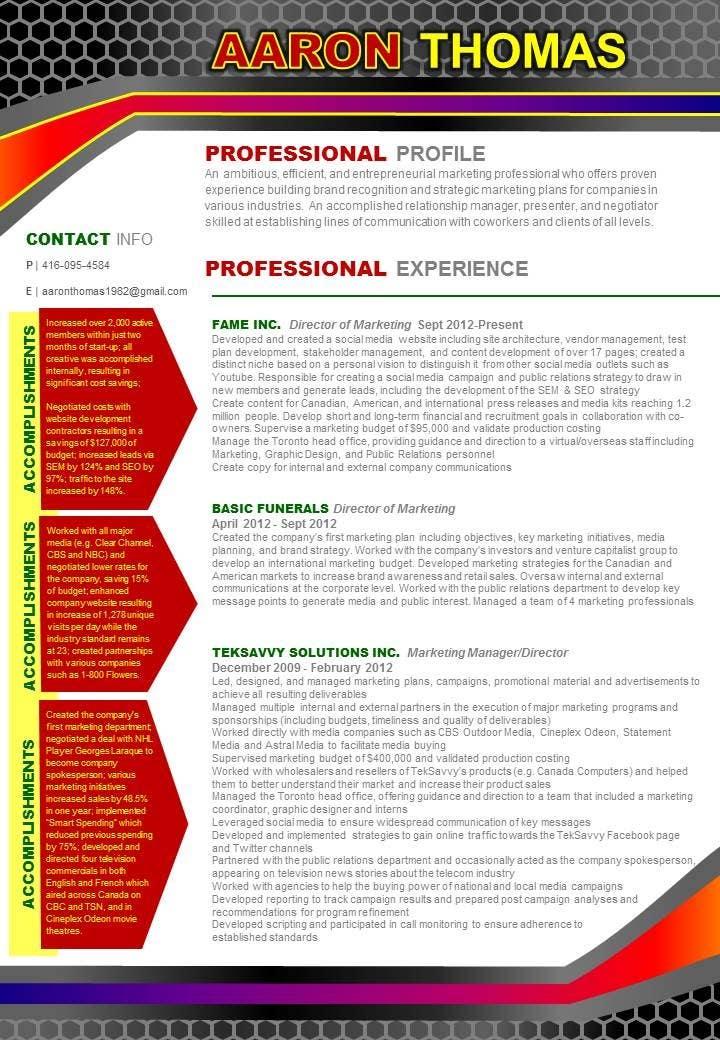 Kilpailutyö #13 kilpailussa convert my resume to an eye catching graphic resume