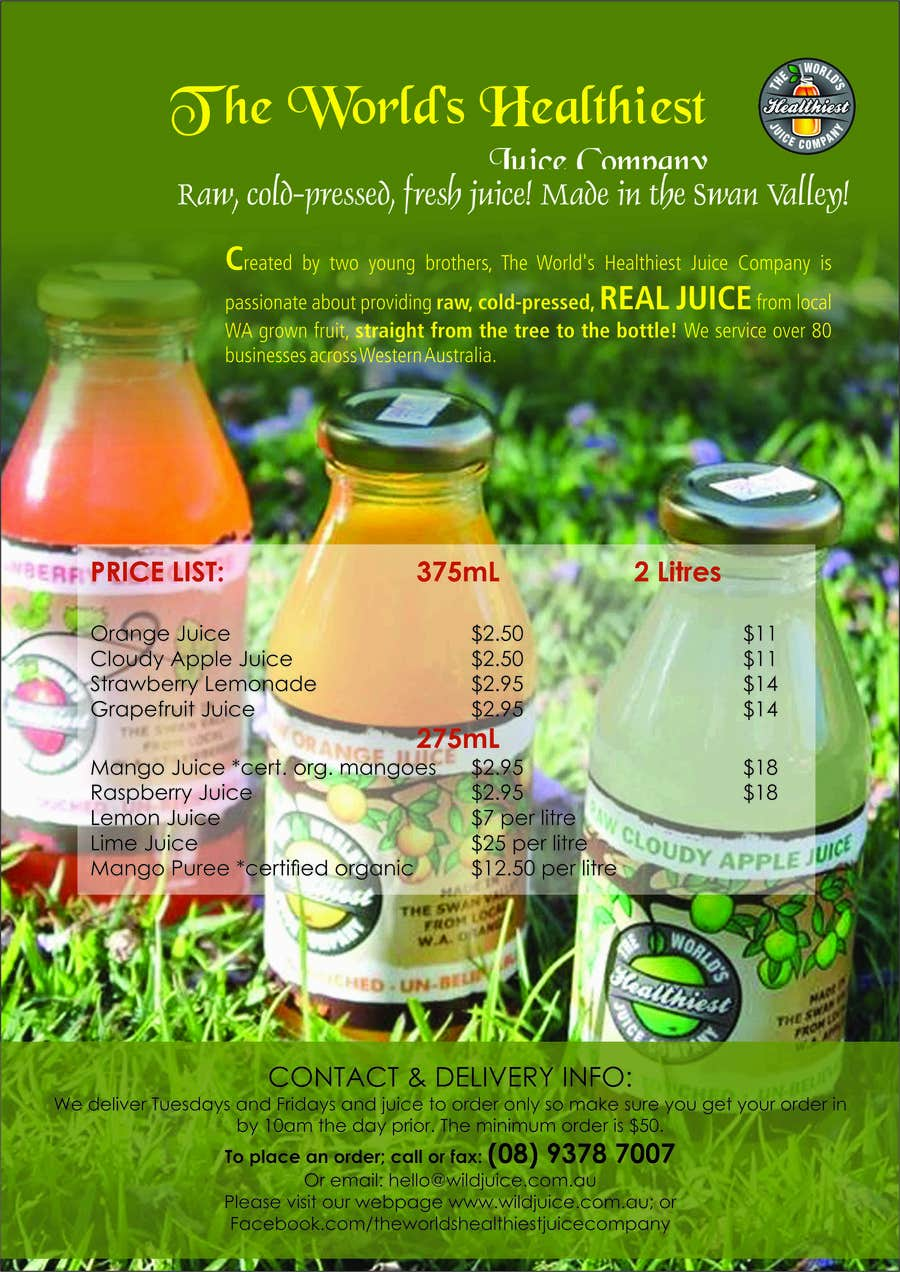 Proposition n°7 du concours Design a Flyer for Juice Company
