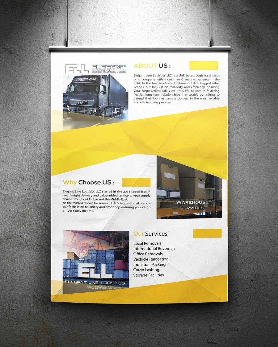 Entry #6 by arunteotiakumar for Design a Brochure for a Logistics