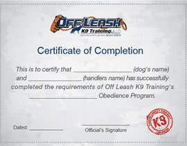 #75 untuk Design a Certificate of Completion For Dog Training Business oleh waqashl
