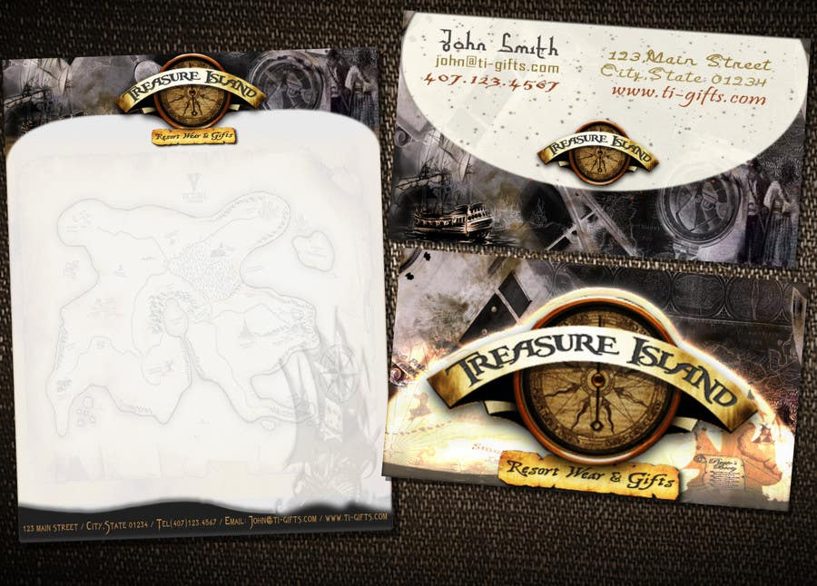 Kilpailutyö #                                        62                                      kilpailussa                                         Business Card Design for Treasure Island Resort Wear & Gifts