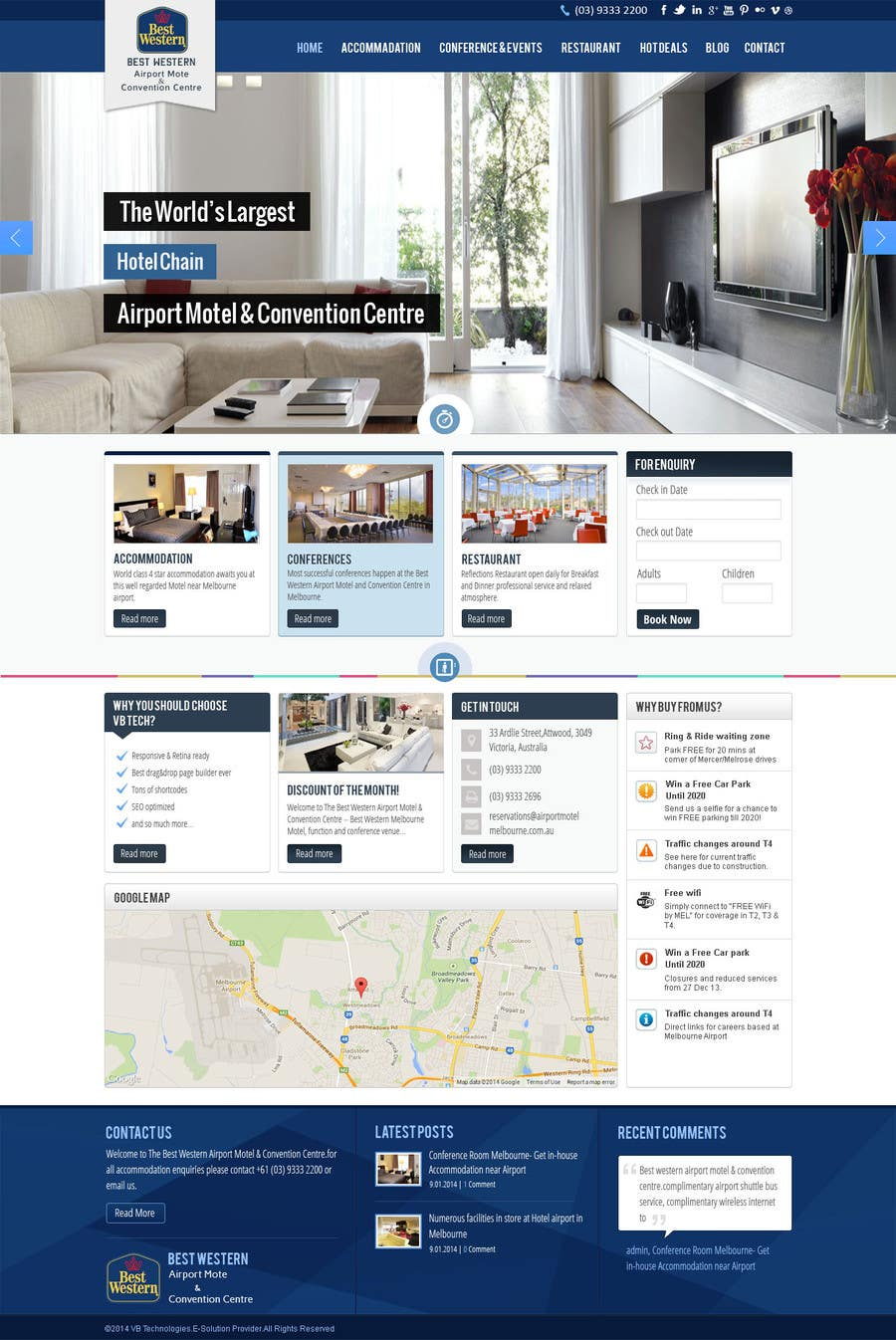 Proposition n°13 du concours Create a Wordpress Template for Hotel