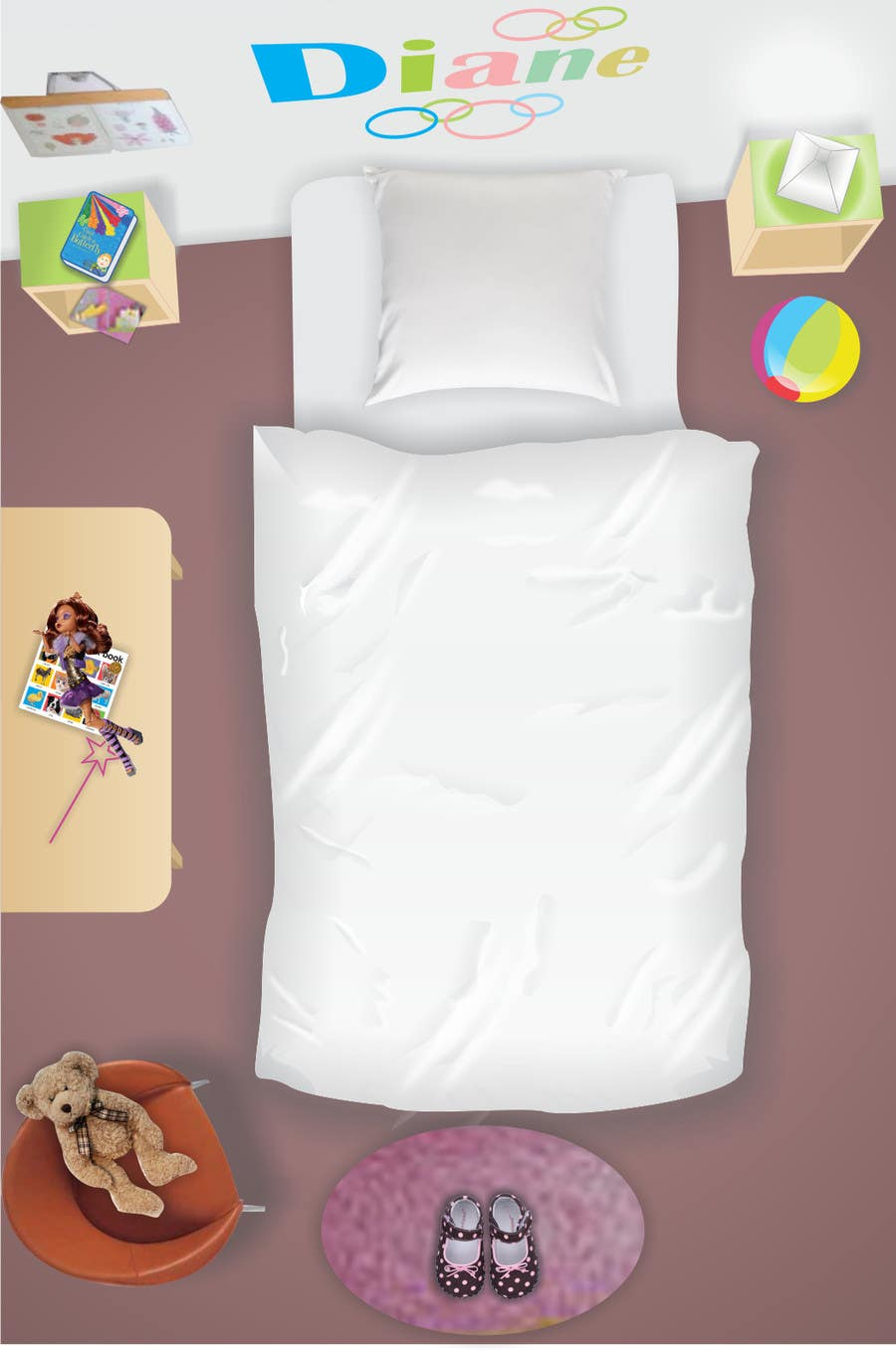 #7 for Create a small, easy and very simple girls bedroom scene by mgliviu