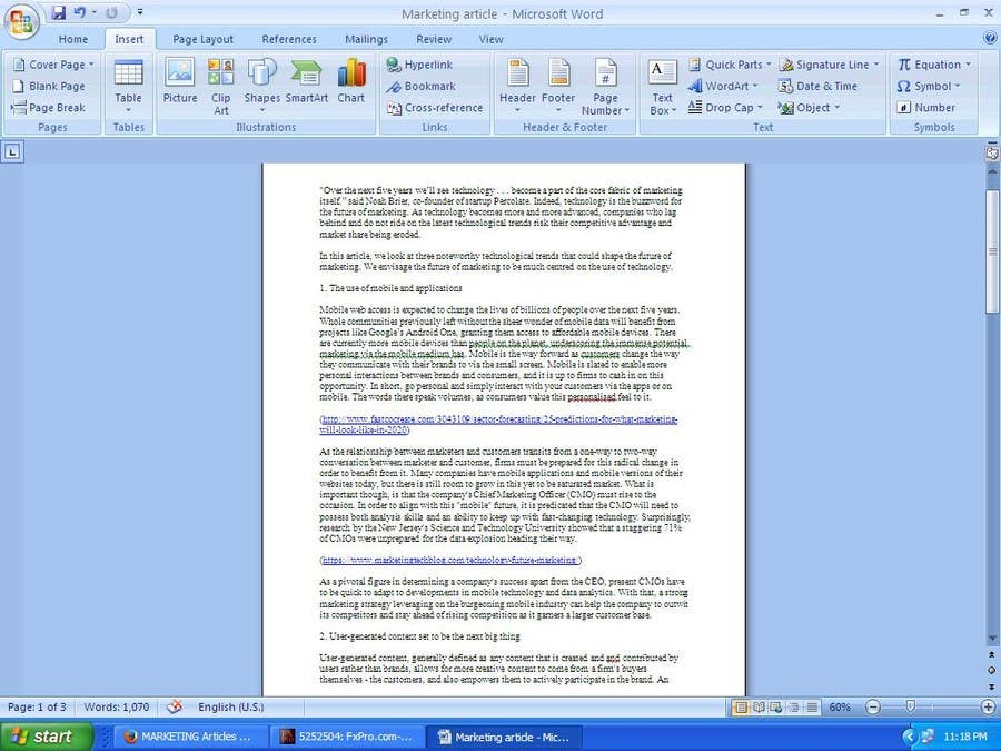 800 words in pages