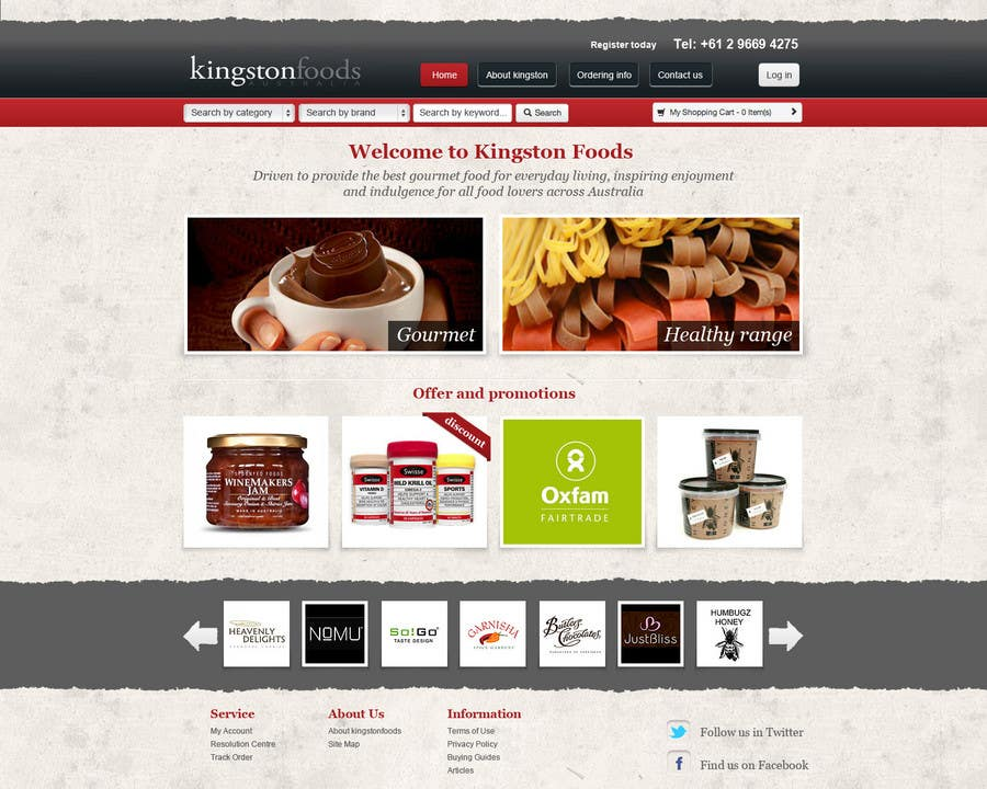 Bài tham dự cuộc thi #54 cho Website Design for Kingston Foods Australia