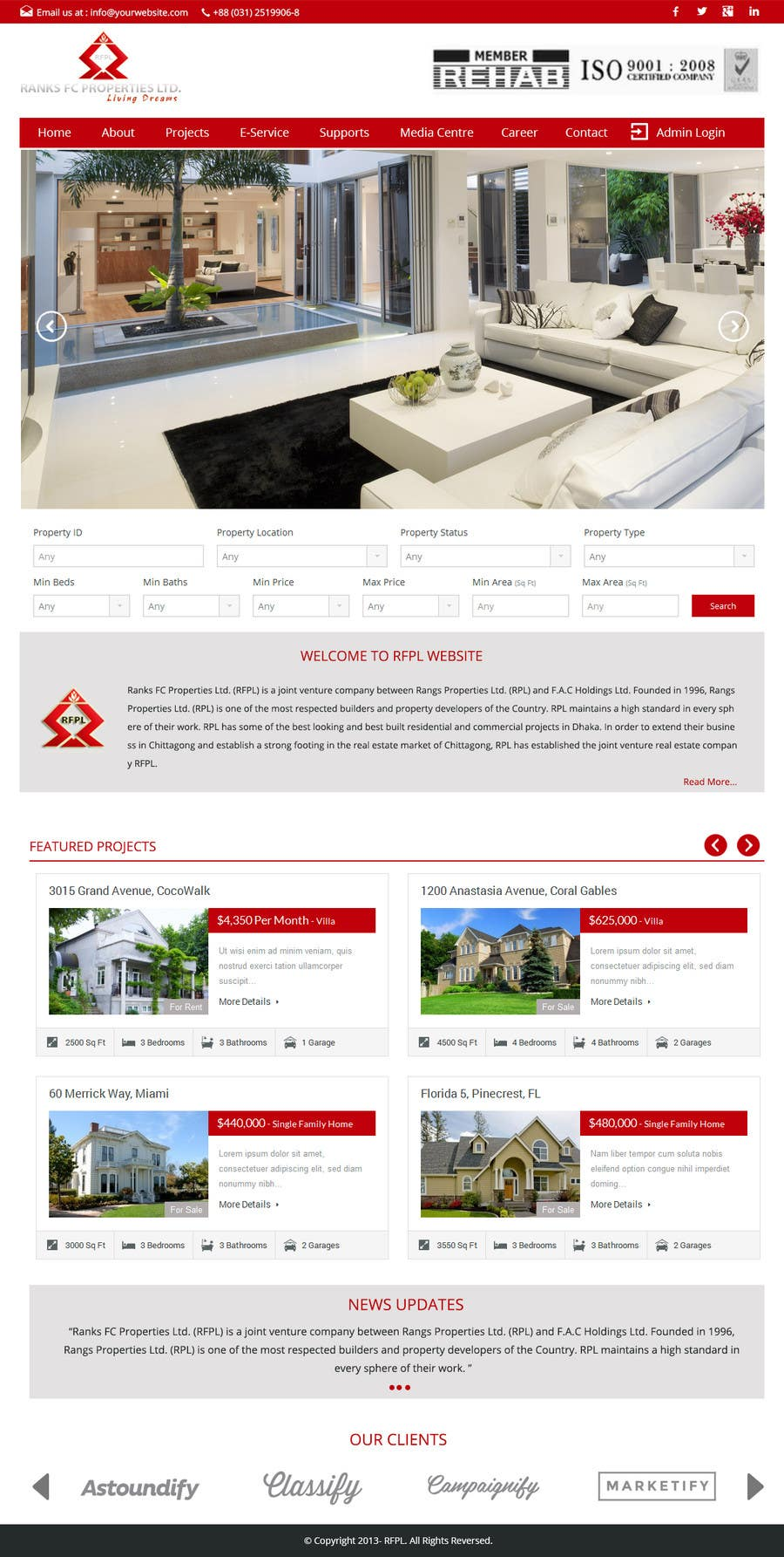 #13 for Design a Website Mockup for realestate site by GemIT