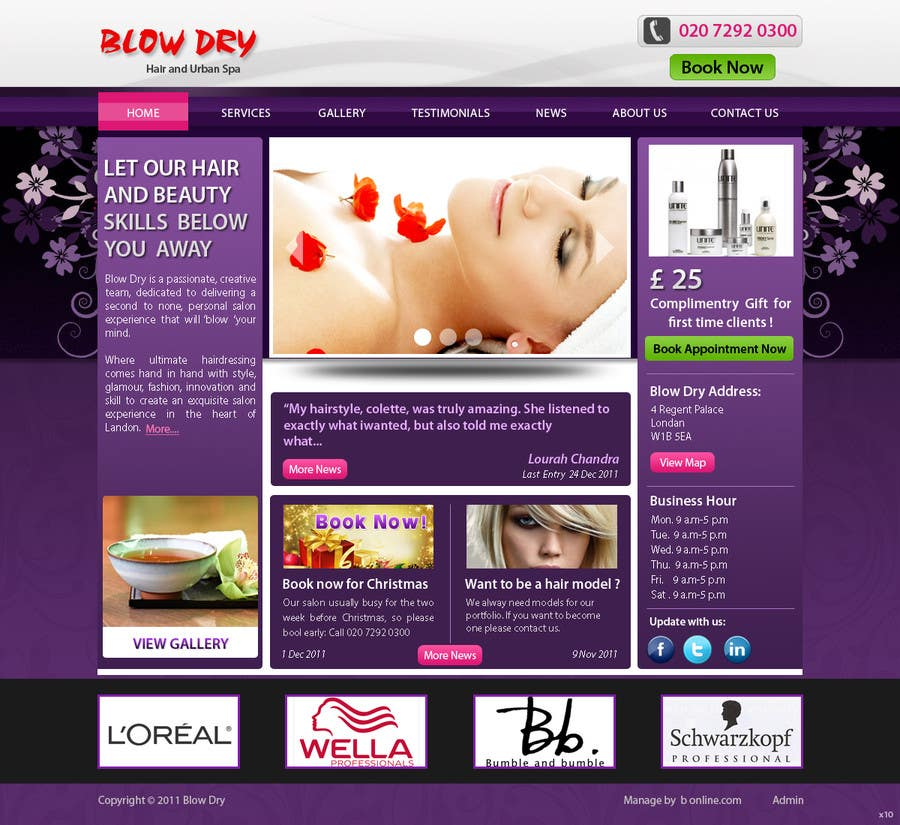#35 for Design a Website Mockup for beauty site by online3