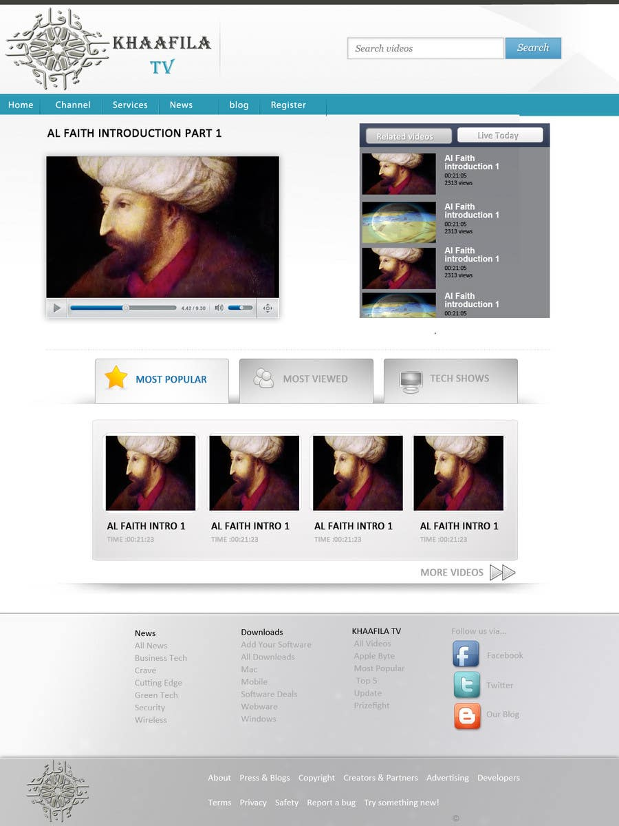 #23 for Website Design for KHAAFILA.TV  and HIJRAH.TV online televisions by design3r4u