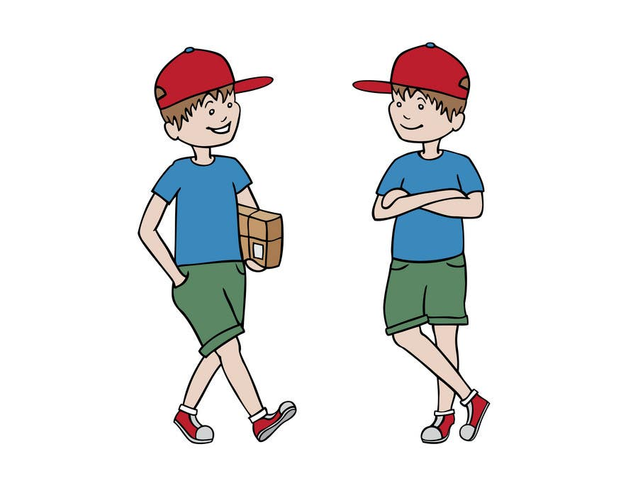 Contest Entry #12 for 2 vector cartoons of a young delivery boy