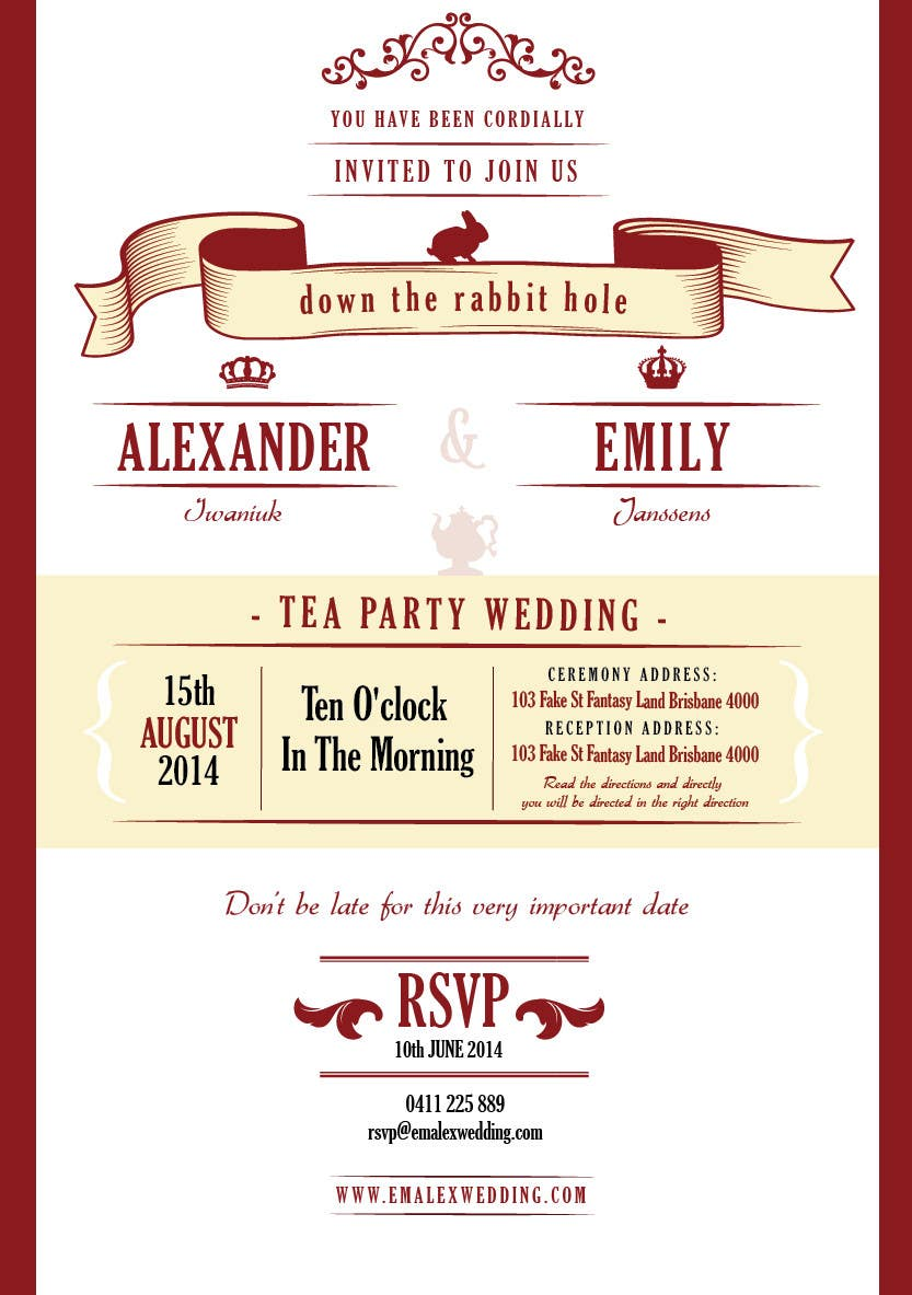 Entry #18 by lukeoliver for Tea Party Wedding Invitation Alice in ...