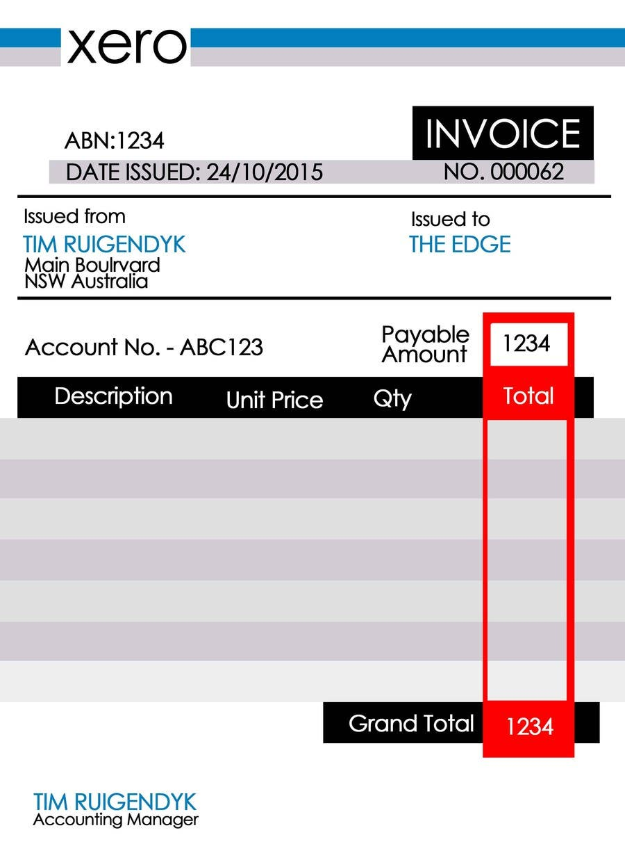 Entry By Fredo For Invoice Template For Xero Freelancer - Xero invoice templates