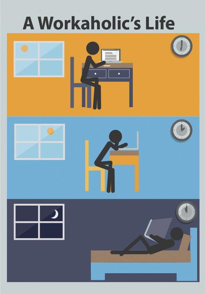 Bài tham dự cuộc thi #                                        17                                      cho                                         Workaholic illustration or cartoon. Design single-panel illustration or cartoon symbolizing a Workaholic (multiple winners possible).