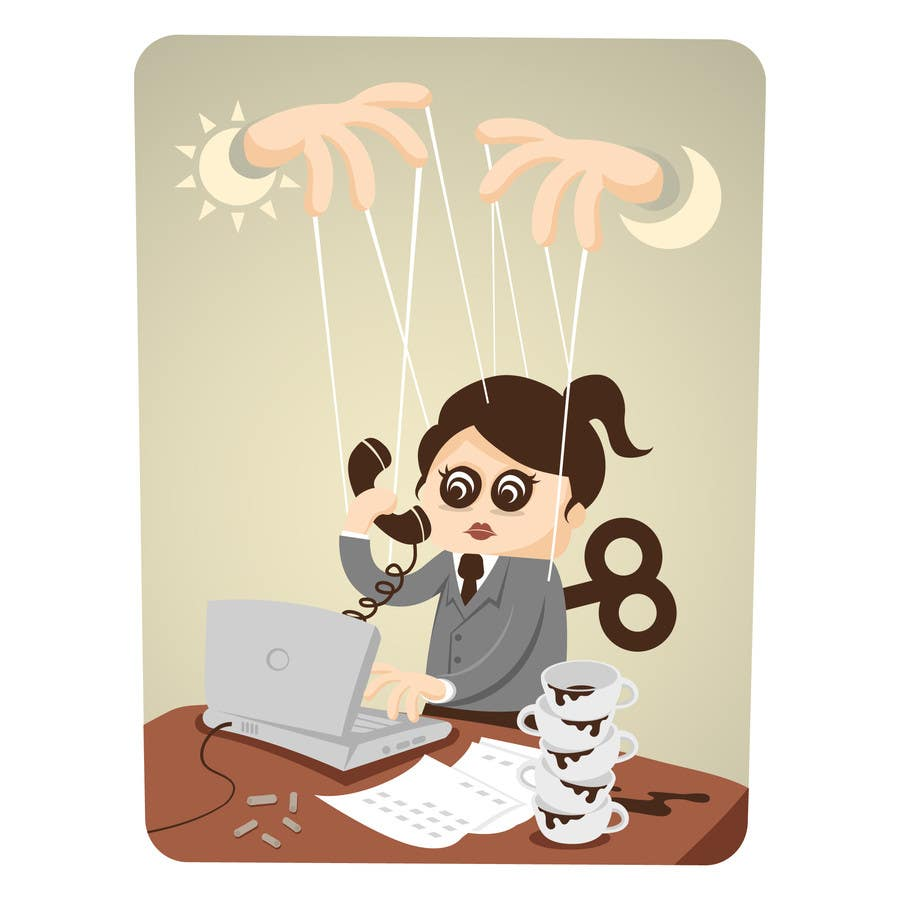 Bài tham dự cuộc thi #                                        26                                      cho                                         Workaholic illustration or cartoon. Design single-panel illustration or cartoon symbolizing a Workaholic (multiple winners possible).