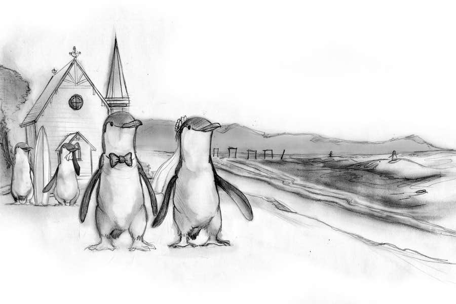 Drawing / cartoon for wedding invite with penguins near the surf