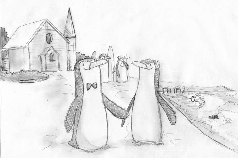 Contest Entry #                                        66                                      for                                         Drawing / cartoon for wedding invite with penguins near the surf