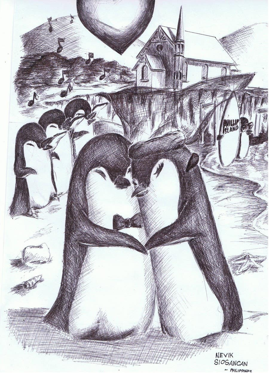 Contest Entry #                                        58                                      for                                         Drawing / cartoon for wedding invite with penguins near the surf