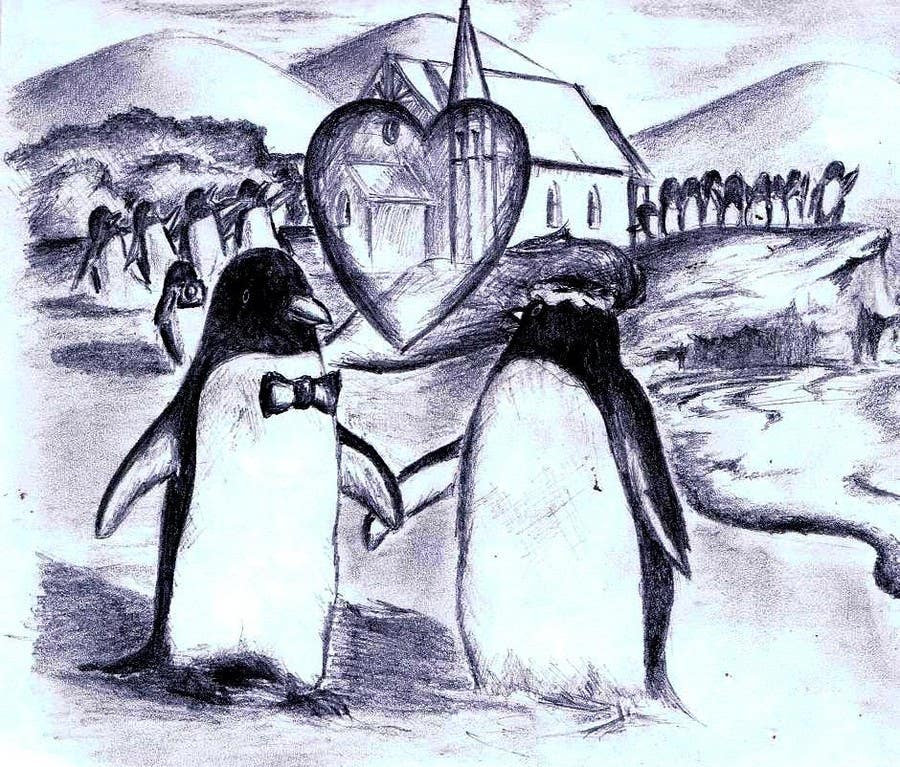 Contest Entry #38 for Drawing / cartoon for wedding invite with penguins near the surf