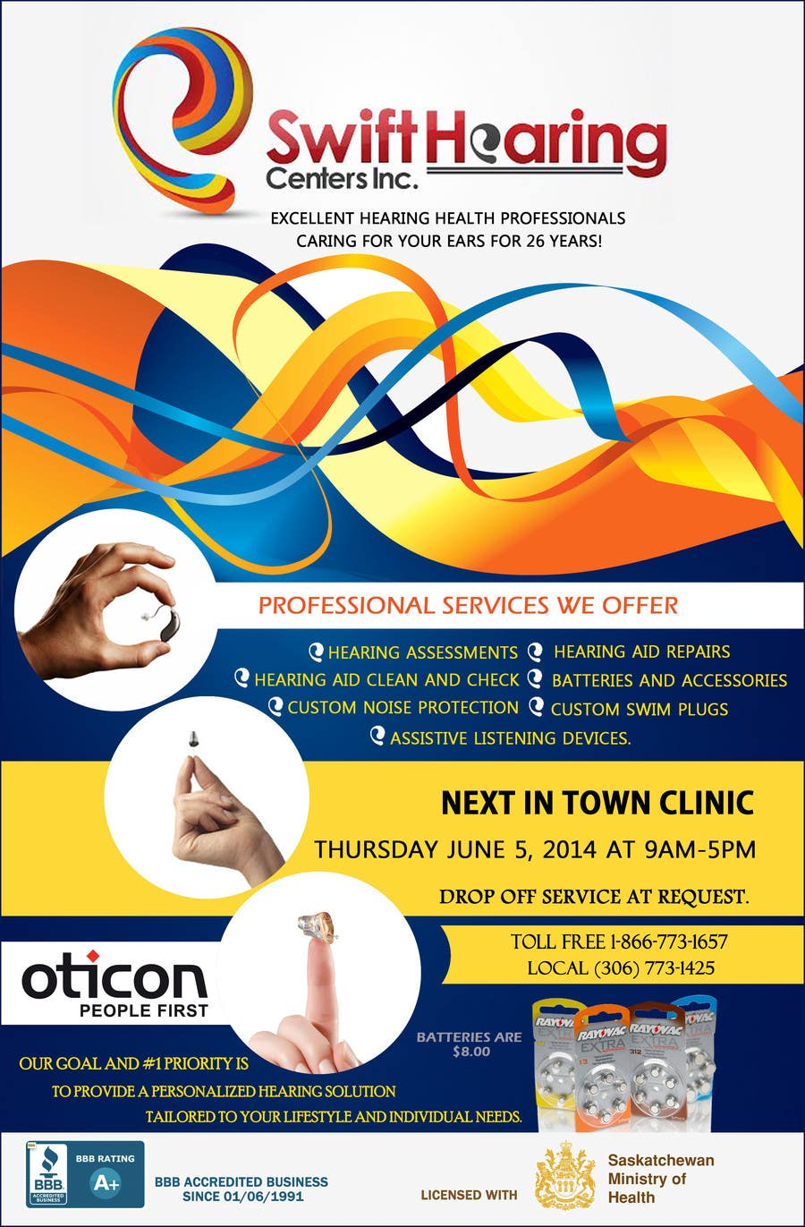 design a flyer for a hearing clinic
