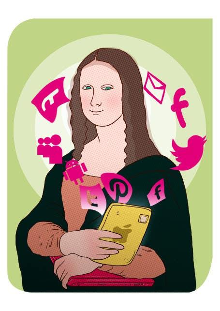 Inscrição nº                                         5                                      do Concurso para                                         Social media addict. Design single-panel illustration or cartoon symbolizing a social media addict (multiple winners possible).
