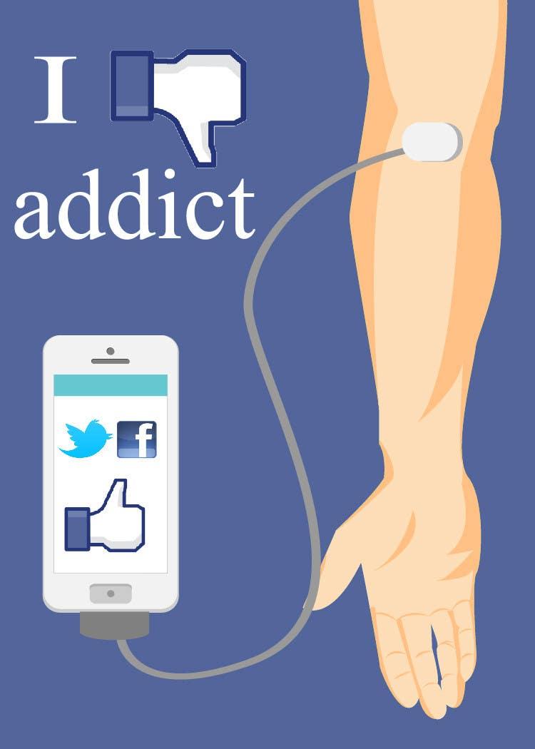 Inscrição nº                                         18                                      do Concurso para                                         Social media addict. Design single-panel illustration or cartoon symbolizing a social media addict (multiple winners possible).
