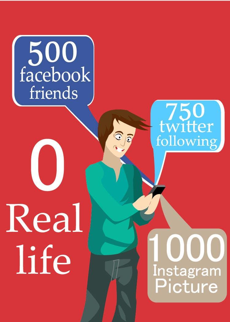 Inscrição nº                                         19                                      do Concurso para                                         Social media addict. Design single-panel illustration or cartoon symbolizing a social media addict (multiple winners possible).