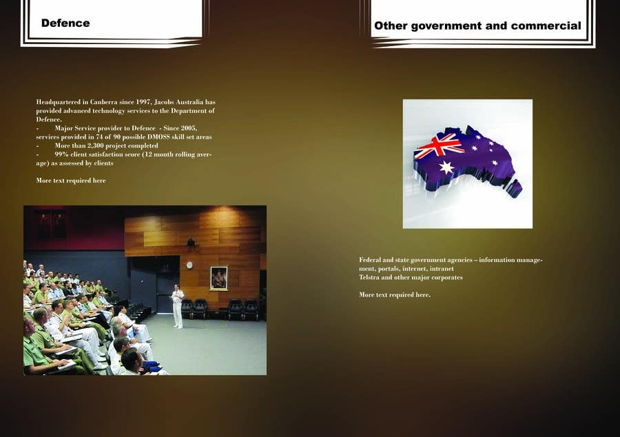 Kilpailutyö #                                        6                                      kilpailussa                                         Brochure Design for Jacobs Australia