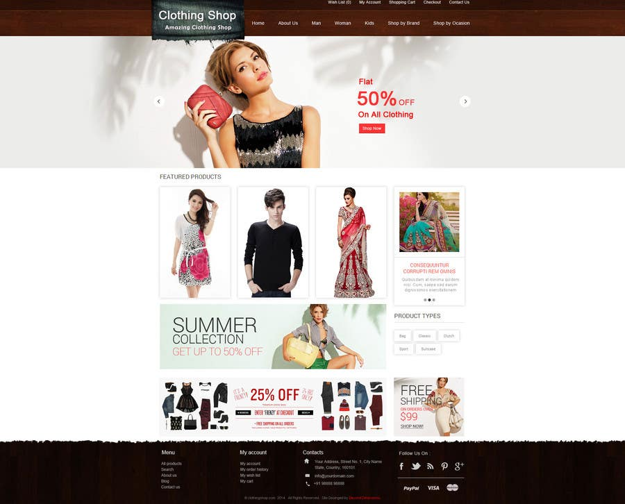#17 for Design a Website Mockup for ecommerce site dresses and shoes by sureshkumar18