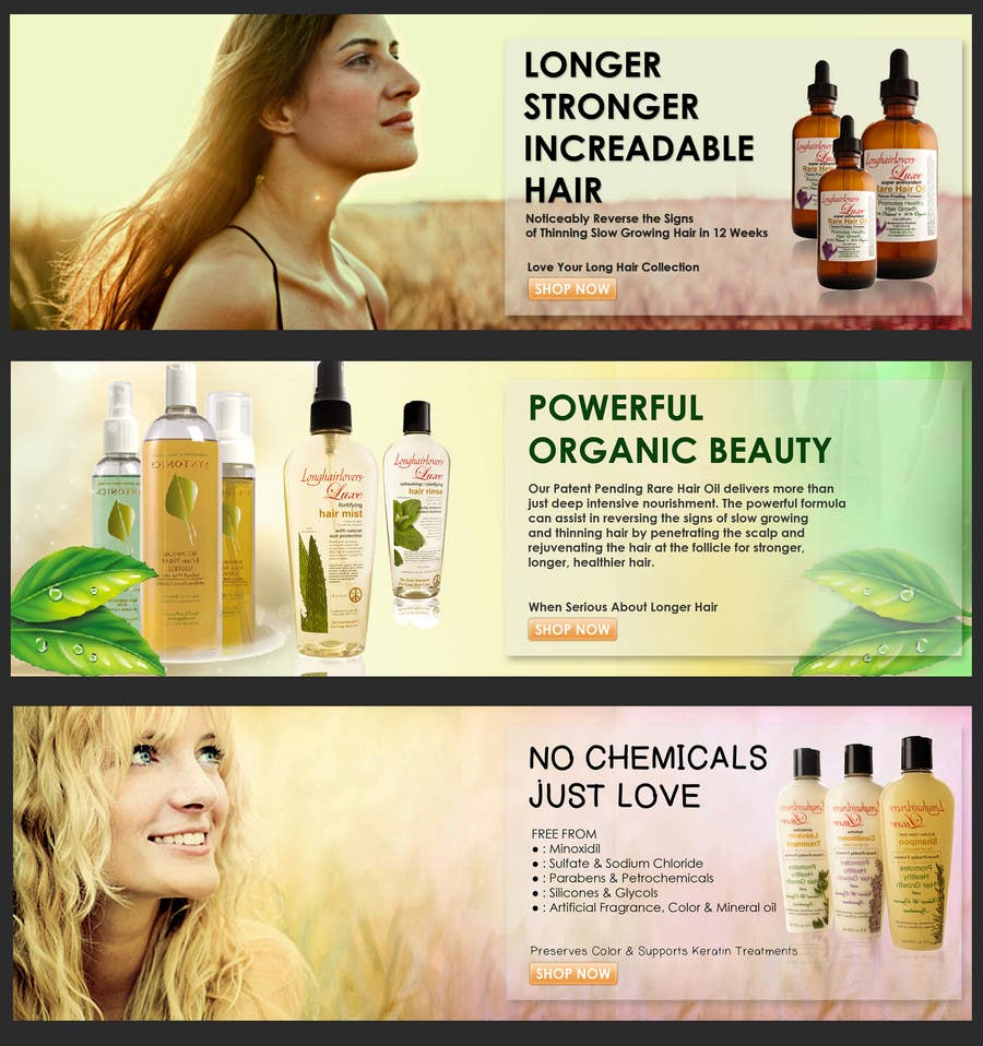 Entry 14 By Agiel24 For Banner Ad Design For 3 Organic Hair Care Website Freelancer