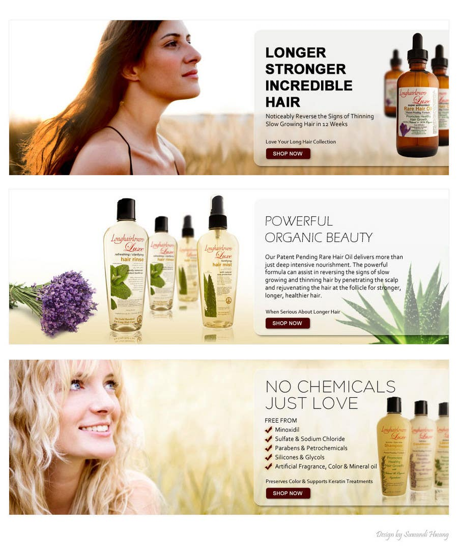 Contest Entry #27 for Banner Ad Design for 3 Organic Hair Care Website