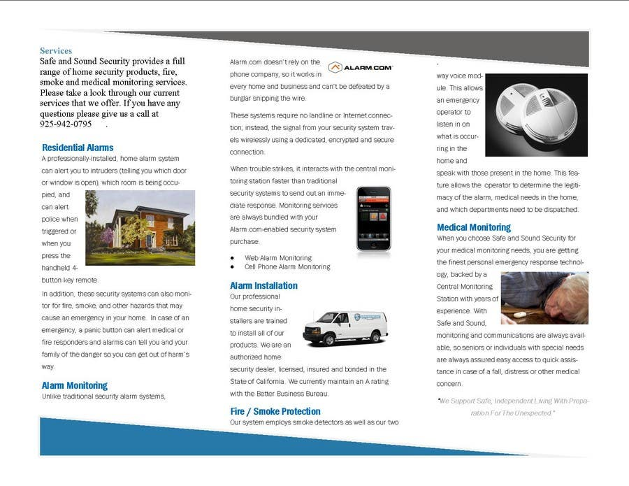 Contest Entry #                                        35                                      for                                         Brochure Design for Safe and Sound Security