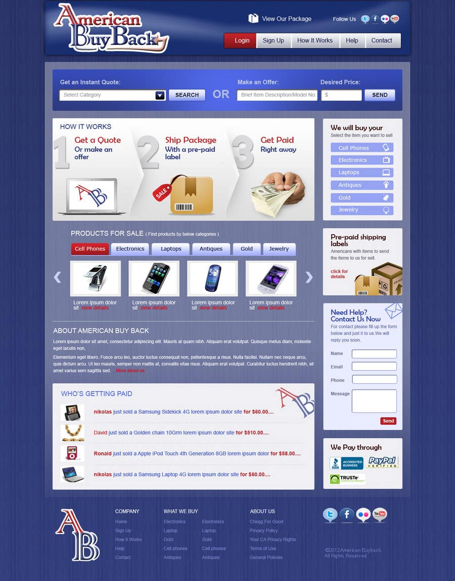 Inscrição nº 61 do Concurso para Website Design for American Buy Back! Buying Electronics Antiques Gold and valuables Online w/Cash