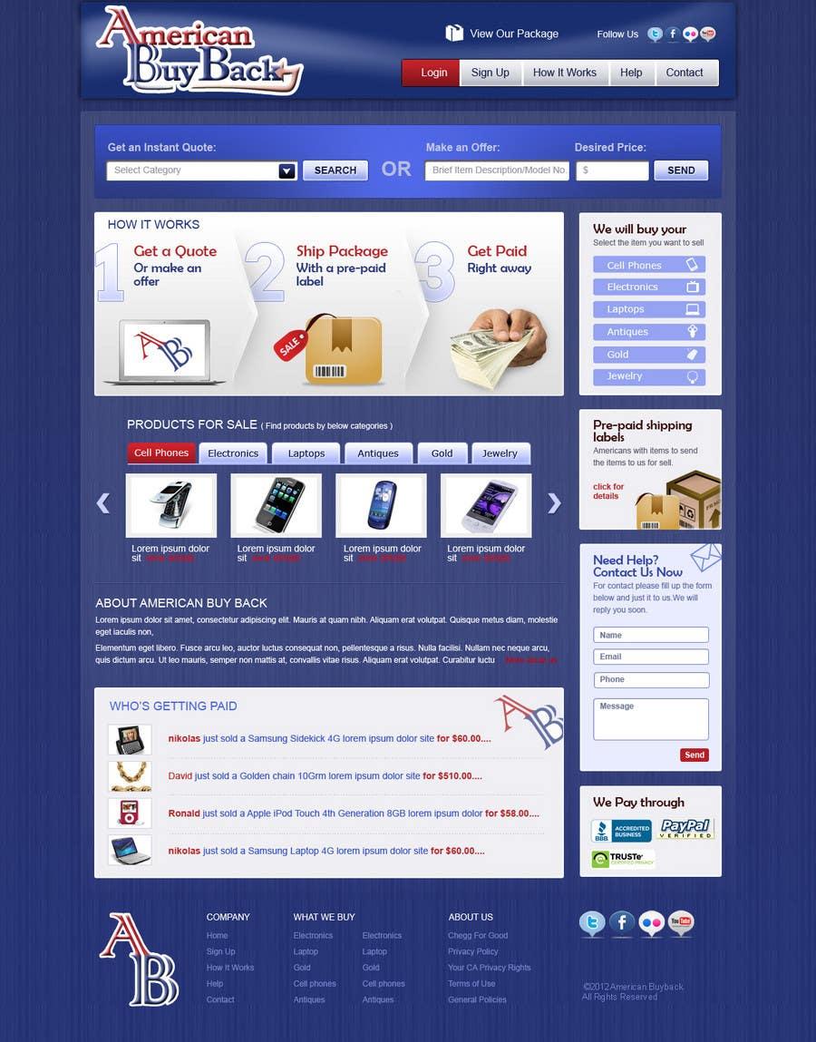 Inscrição nº 88 do Concurso para Website Design for American Buy Back! Buying Electronics Antiques Gold and valuables Online w/Cash
