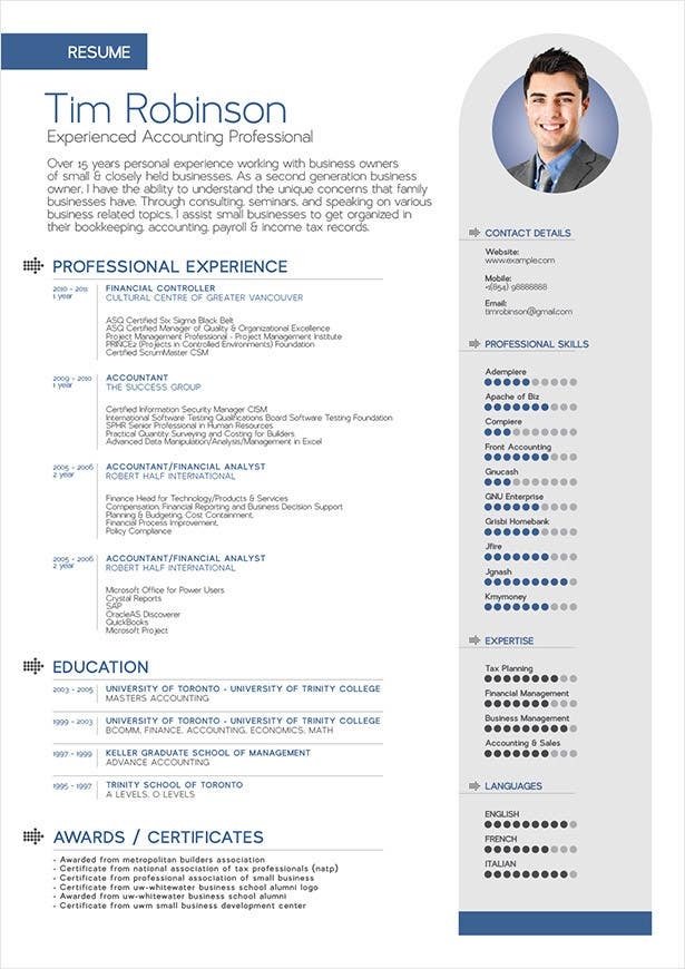 Resume Template Free online PDF and Word DOC CV builder