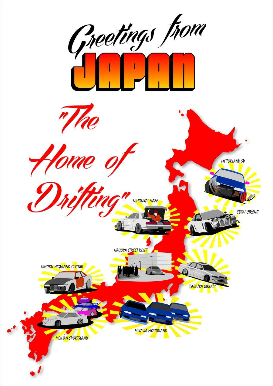Entry 11 by misicivana for design a greetings from japan design contest entry 11 for design a greetings from japan design for car drifting m4hsunfo
