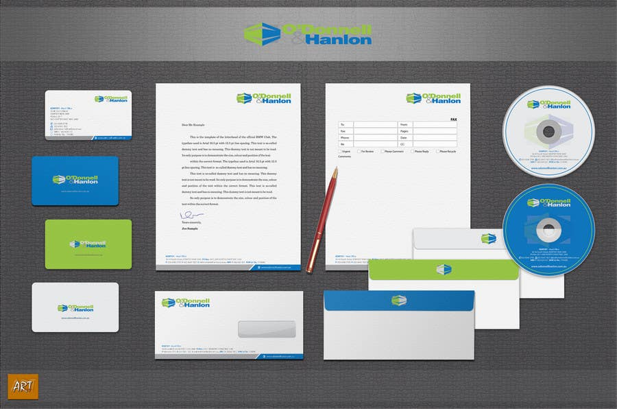 Konkurrenceindlæg #                                        141                                      for                                         Stationery Design for O'Donnell & Hanlon Pty Ltd