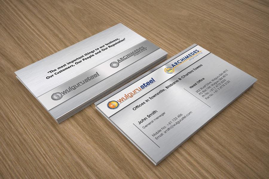 Kilpailutyö #72 kilpailussa Business Card Design for Wulguru Group - incorporates Wulguru Steel & Archimedes Engineering