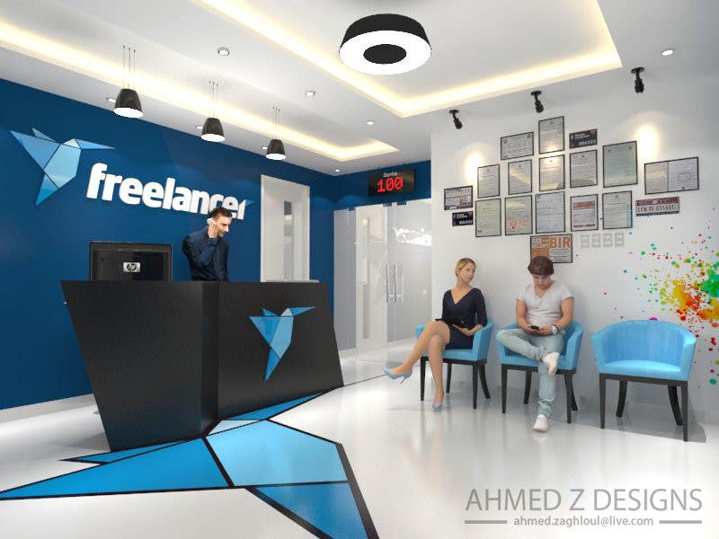 Contest Entry #2 For 3D Design Of Freelancer Office Reception Area