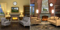 {{?25 for Transform a bad hand drawing into a quality graphic-Two Living Rooms (2 styles:Log Cabin and Modern) by krisztiankerek