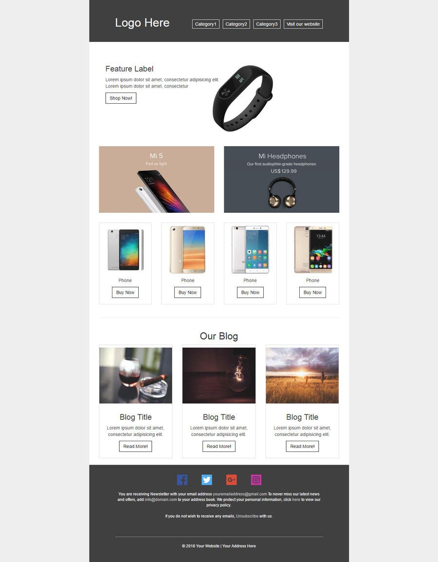 entry 29 by sultonbekm for newsletter html template e commerce